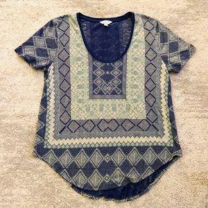 Lucky Brand Blue Tribal Print Cotton Tee